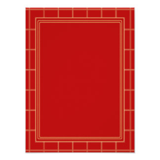 Elegant Template with Border RED Poster