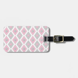 Elegant Tennis Ball Diamond Pattern Pink and Grey Luggage Tag