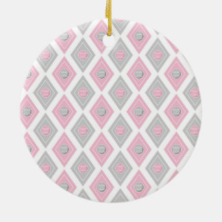 Elegant Tennis Ball Diamond Pattern Pink and Grey Christmas Tree Ornaments