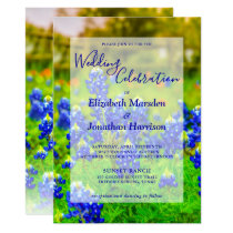 Elegant Texas Bluebonnets Floral Photo Wedding Invitation