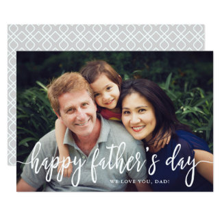 Elegant Text Photo Father's Day Flat Card