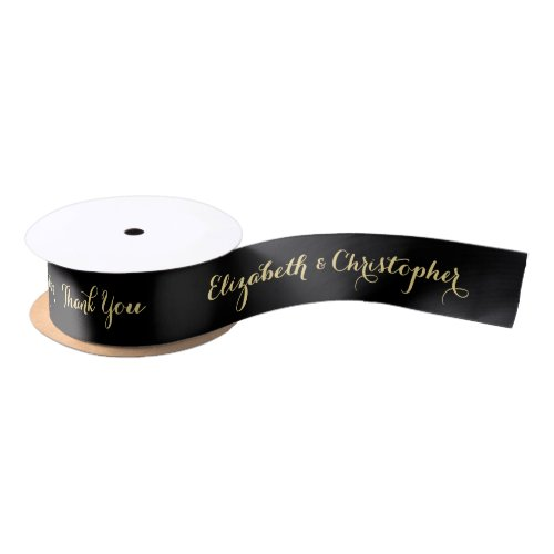 Elegant Thank You Black Gold Custom Wedding Favor Satin Ribbon
