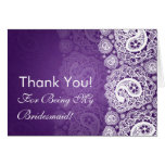 Elegant Thank You Bridesmaid Paisley Lace Purple Card