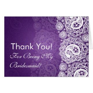 Elegant Thank You Bridesmaid Paisley Lace Purple Cards