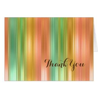 Elegant Thank You Card Peach and Green Stripe