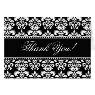 Elegant Thank You Cards Black White Damask