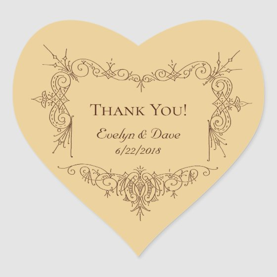 Elegant thank you couples Custom texts CC0984 Heart Sticker
