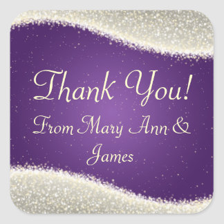 Elegant  Thank you Dazzling Sparkles Purple Square Stickers