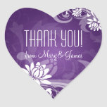 Elegant  Thank you  Floral Swirls Purple Heart Sticker