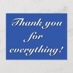 "[ Thumbnail: Elegant ""Thank You For Everything!"" Postcard ]"