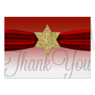 Elegant Thank You Gold Red +Any Color Card