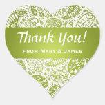 Elegant  Thank you  Paisley Pattern Lime Green Sticker