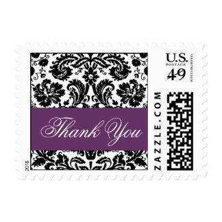 Elegant Thank You Plum Purple Damask Postage