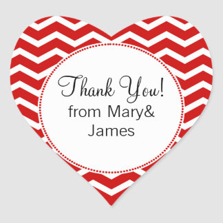 Elegant Thank You Red Chevron Pattern Heart Sticker