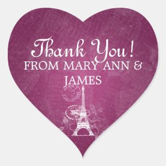 Elegant  Thank you Romantic Paris Berry Pink Heart Sticker