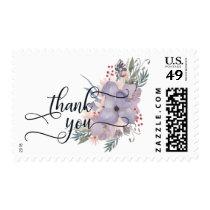 Elegant Thank You Script & Watercolor Flowers Postage