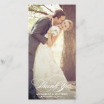"""Elegant Thank You Script Wedding Overlay<br><div class=""""desc"""">Thank your guests in style and showcase your best photograph from your big day with our elegant wedding thank you cards. This chic design features a formal script font that reads &quot;Thank You&quot;. The white text overlays your photo allowing your wedding photograph to be the focal point of the design....</div>"""