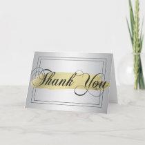 Elegant THANK YOU Silver Gold Brush Stroke Blank