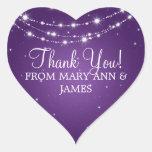 Elegant  Thank you Sparkling Chain Purple Heart Stickers