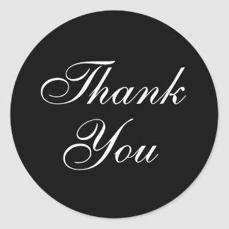 Elegant Thank You Stickers in Black