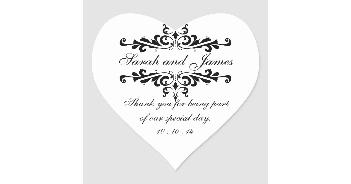 Elegant Thank You Wedding Favor Stickers Heart Zazzle