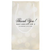 Elegant Thank You Wedding Gold Glitter Lights Small Gift Bag