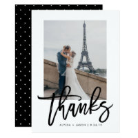 Elegant Thanks | Typography and Wedding Photo Card