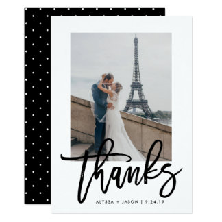 Elegant Thanks | Typography and Wedding Photo Card