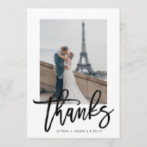 Elegant Thanks | Typography and Wedding Photo Thank You Card