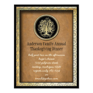 """Elegant Thanksgiving Dinner Invitation 4.25"""" X 5.5"""" Invitation Card"""