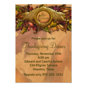 elegant thanksgiving invitations invite your guests today zazzle