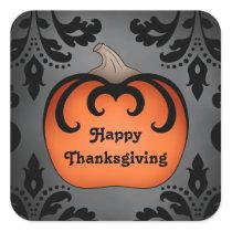 Elegant Thanksgiving pumpkin on damask Square Sticker