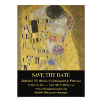 "Elegant ""The Kiss"" Save the Date with Website Card"