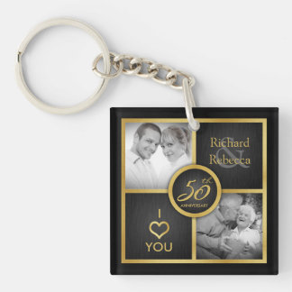 """Elegant """"then and now"""" Black and Gold 50th Wedding Double-Sided Square Acrylic Keychain"""