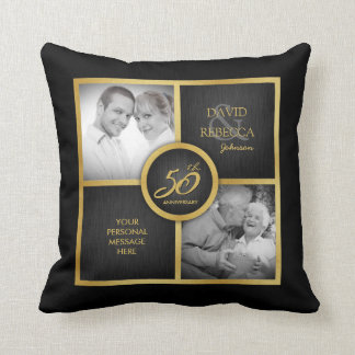 "Elegant ""then and now"" Black and Gold 50th Wedding Pillow"