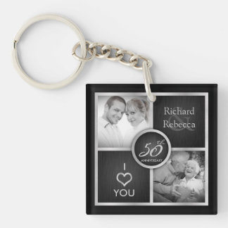 "Elegant ""then and now"" silver & Gold 50th Wedding Keychain"