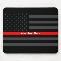 Elegant Thin Red Line Personalized Black US Flag Mouse Pad