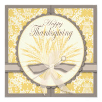 Elegant Thistle and Wheat Thanksgiving Card