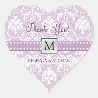 Elegant Thistle Purple & White Damask Thank You! Heart Sticker