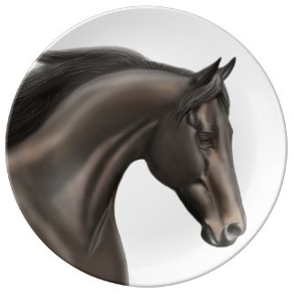 Elegant Thoroughbred Horse Porcelain Plate