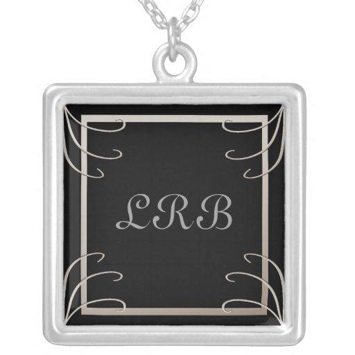 Elegant Three Initial Black-Silver Swirl Custom Necklace
