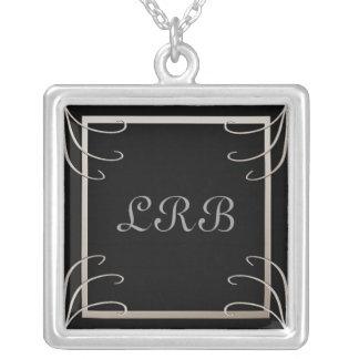 Elegant Three Initial Black-Silver Swirl Square Pendant Necklace