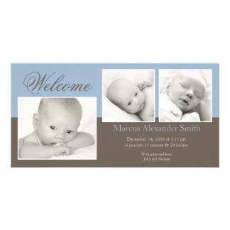 Elegant Three Photo Birth Announcement