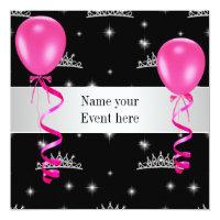 Elegant Tiara Black Pink Balloons Special Event Card