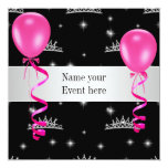 Elegant Tiara Black Pink Balloons Special Event Custom Invitations
