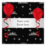 Elegant Tiara Black Red Balloons Special Event Custom Invitation