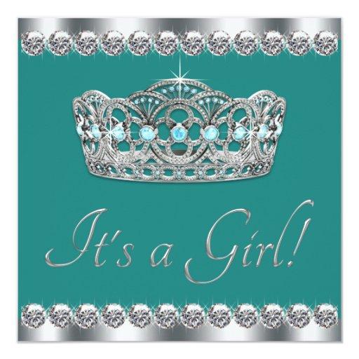 Elegant Tiara Jade Teal Blue Baby Shower 5.25x5.25 Square Paper Invitation Card