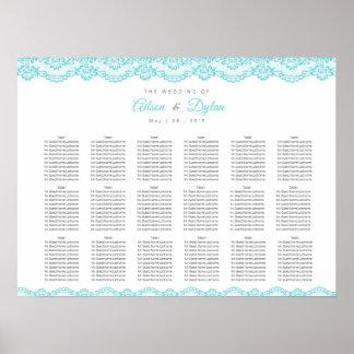 Elegant Tiffany Blue Lace Wedding Seating Chart