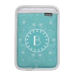 Elegant Tiffany Damask Pattern with Monogram Sleeve For iPad Mini