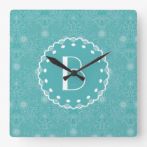 Elegant Tiffany Damask Pattern with Monogram Square Wall Clock